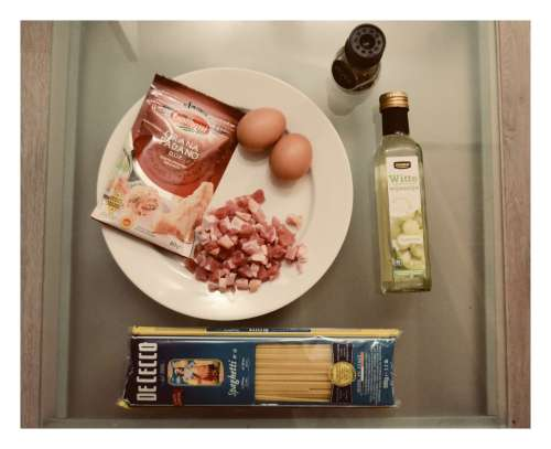All you need - parmesan, eggs, smoked bacon, spaghetti, wine vinegar, pepper
