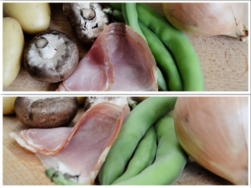 All you need - potato, mushroom, ham, green beans, onion, oil, salt, pepper
