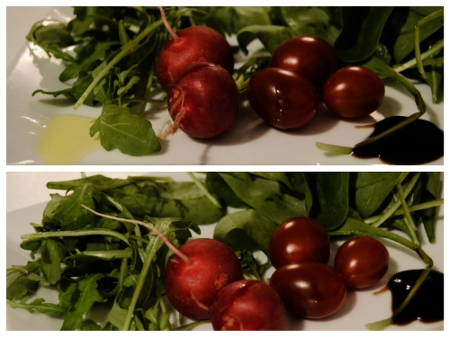 All you need - Salad - balsamic vinegar, olive oil, rocket, radish, tomato